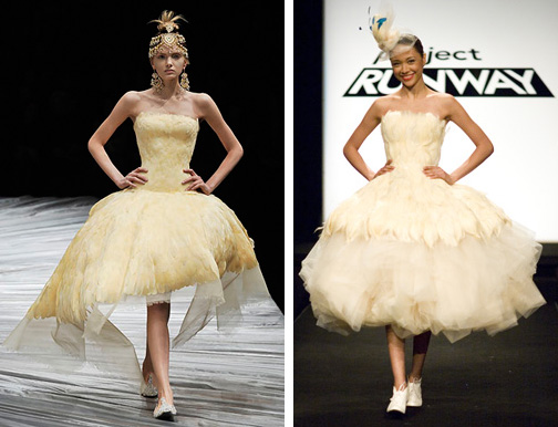 Alexander McQueen Fall 2008 (left) and Kenley's design (right