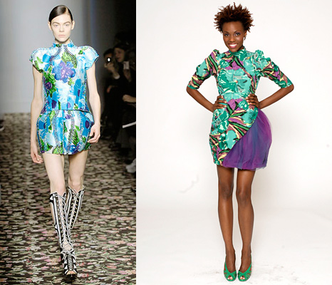 Balenciaga Spring 2008 (left) and Kenley's winning design (right)