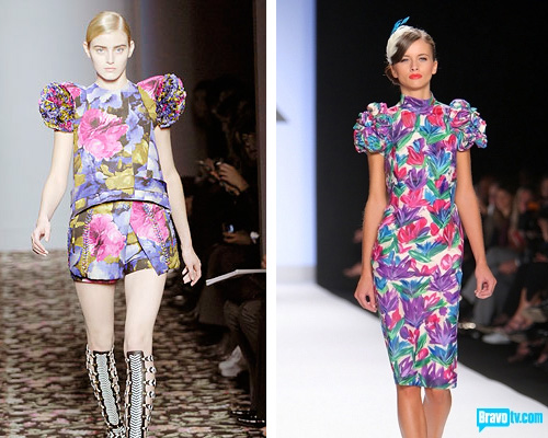 Balenciaga Spring 2008 (left) and Kenley's dress