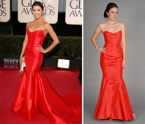 Eva Longoria Parker in Reem Acra at the Golden Globes (left) and edressme version