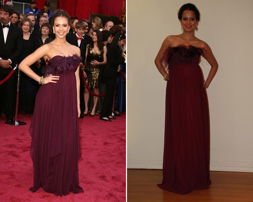 Jessica Alba in Marchesa and Faviana knockoff