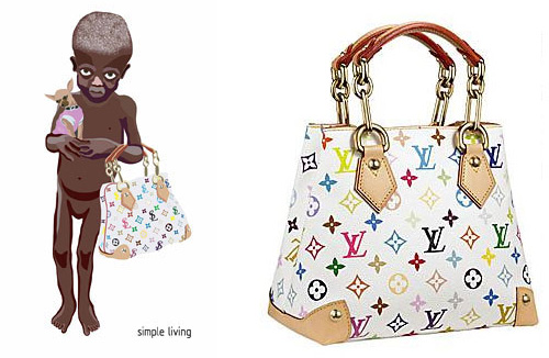Nadia's design (left) and the LV Audra bag