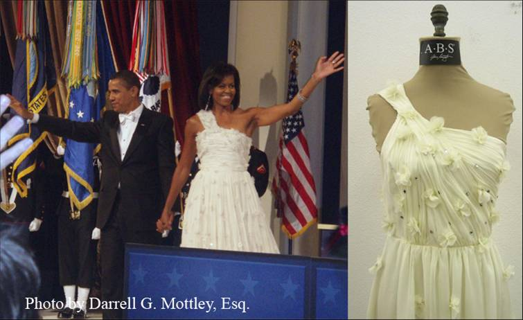 Mrs. O in Jason Wu (left) and ABS knockoff