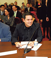 Narciso Rodriguez before Congress -- and yes, your favorite law prof just behind him wearing grey (Narciso, of course)