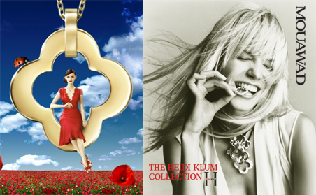 Van Cleef & Arpels (left) and Heidi Klum for Mouawad (right)