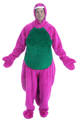 This Barney lookalike isn't a defendant -- but call the fashion police anyway!
