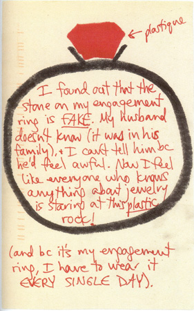 Postsecret fake engagement ring Source The Secret Lives of Men and Women
